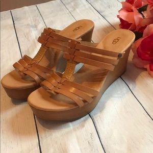 NWT Ugg Leather Nude Platform Wedge Sandals